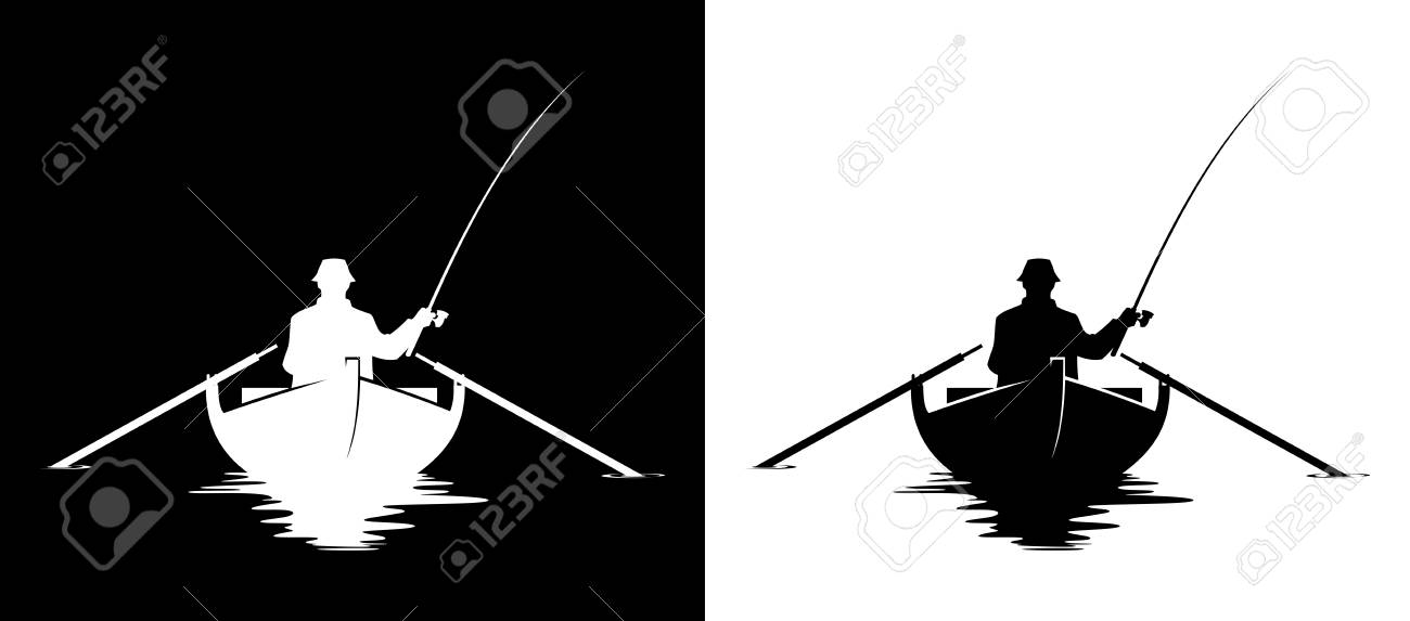 Fisherman In A Boat Silhouette Black And White Vector Illustration Royalty Free Cliparts Vectors And Stock Illustration Image 105342129