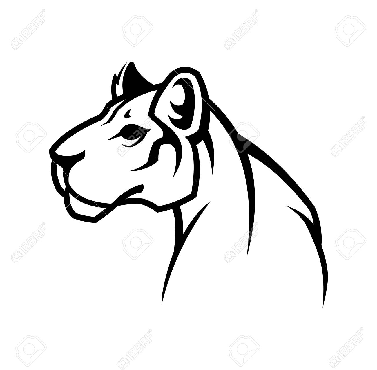 e17af471300 Vector - Vector outline silhouette sign of cougar wild cat. Panther , or  lioness character mascot.