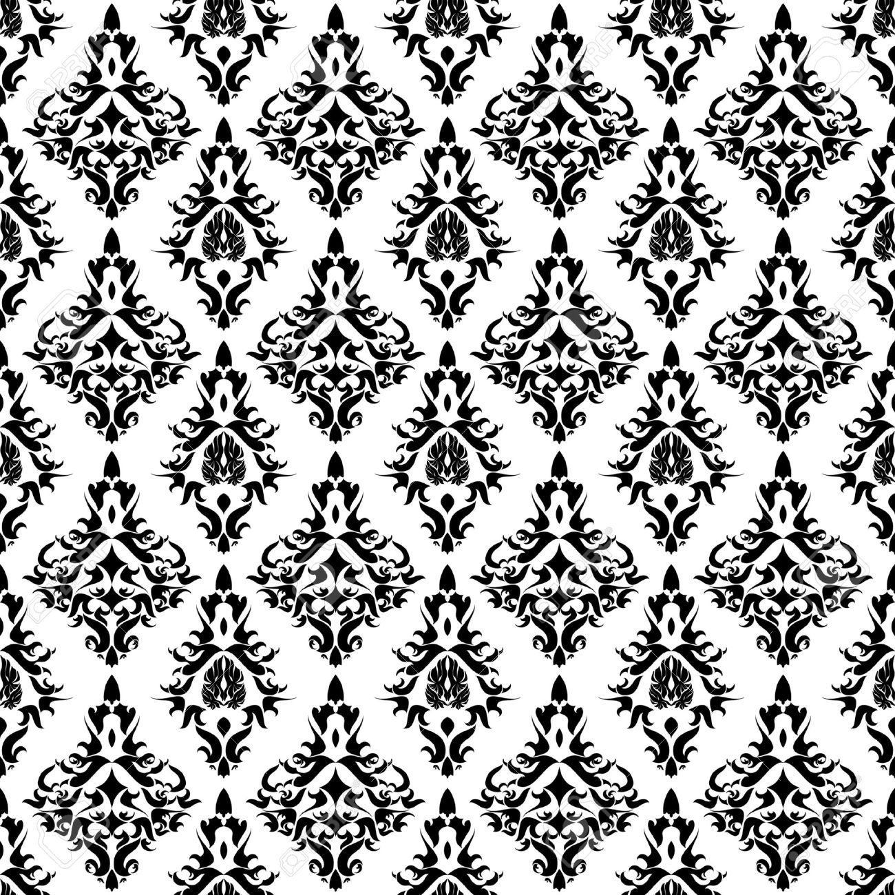 Vintage Damask Wallpaper Vector Seamless Pattern Royalty Free