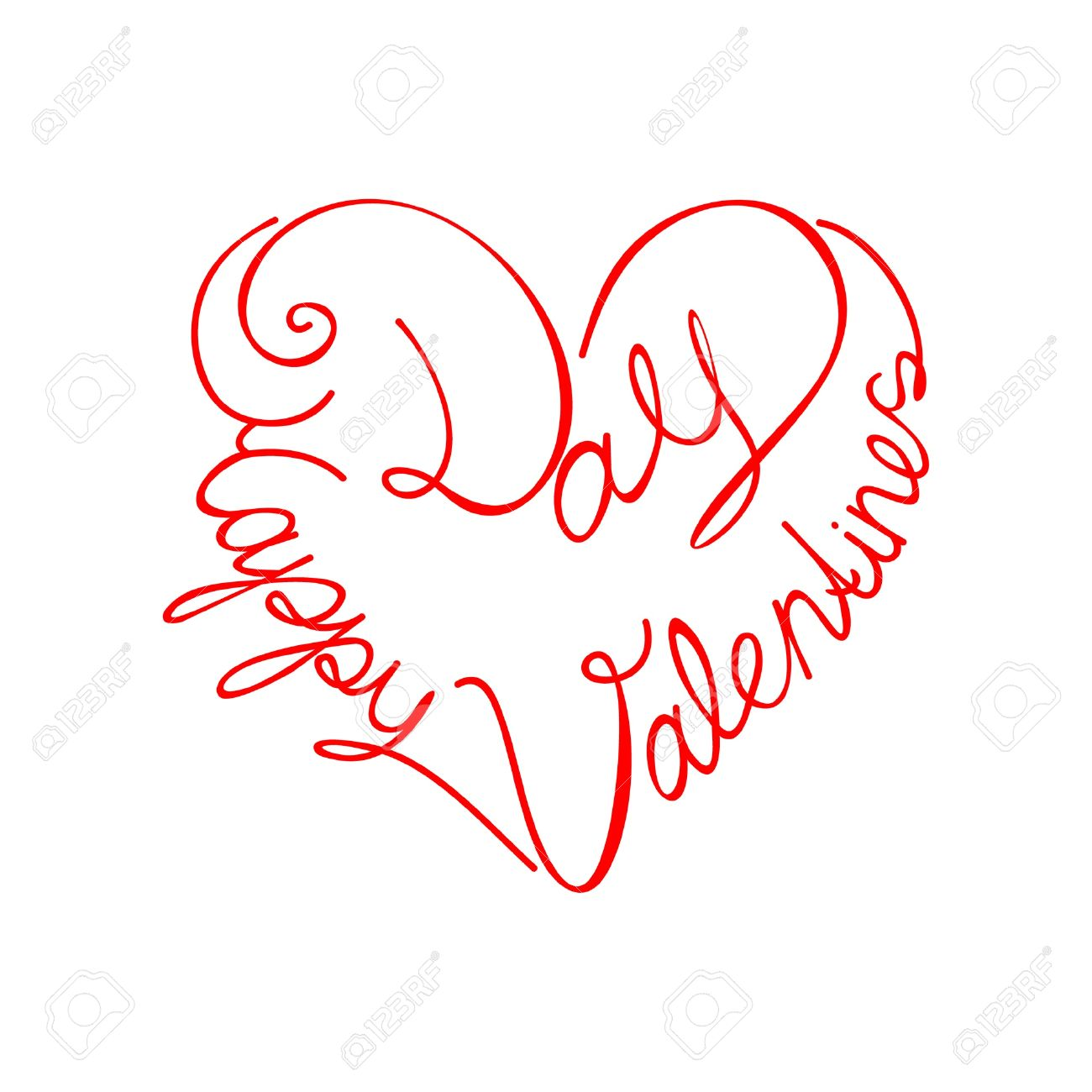 calligraphic text happy valentines day from the heart shape vector stock vector 9185547 - Happy Valentines Day Text