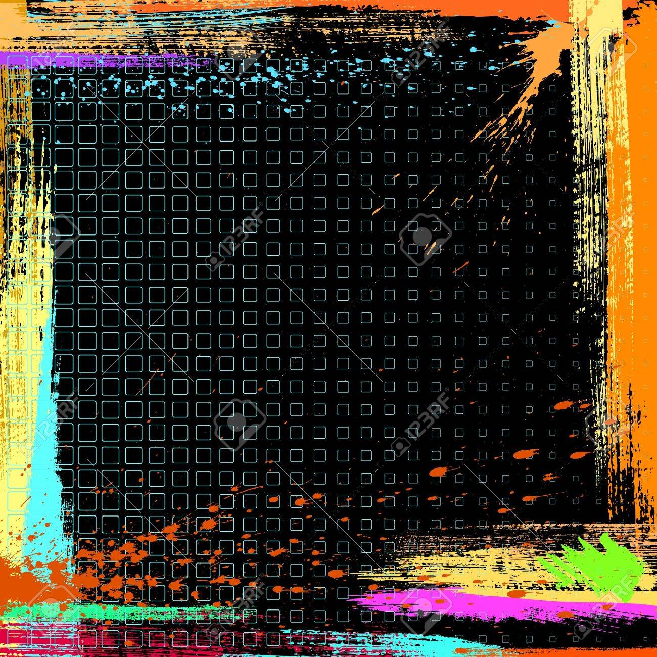 abstract grunge frame made from artistic effect dry brush - 9344539
