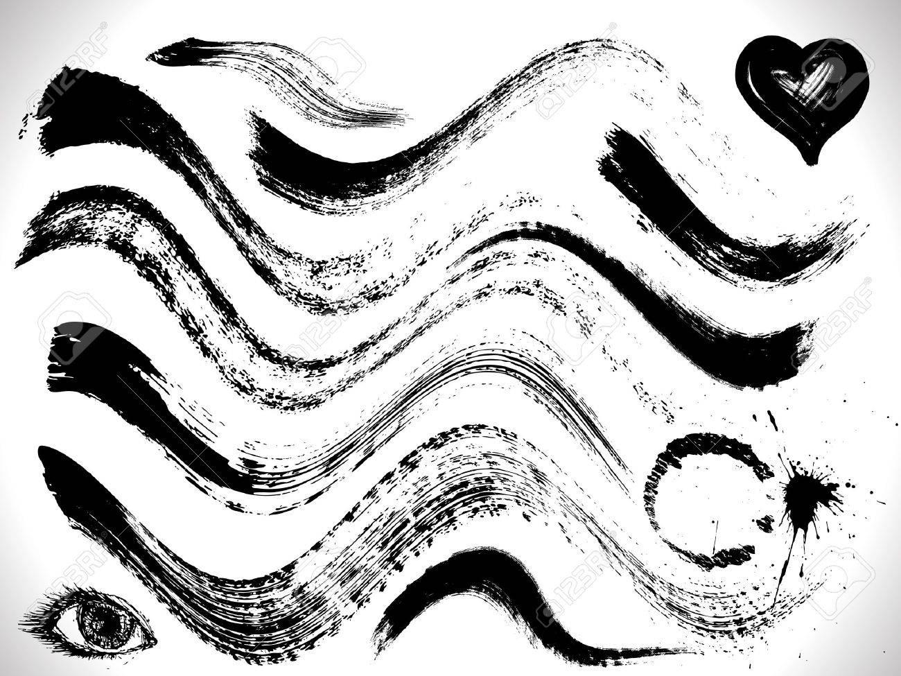vector set of grunge curves strokes, dry brush effect - 10098160