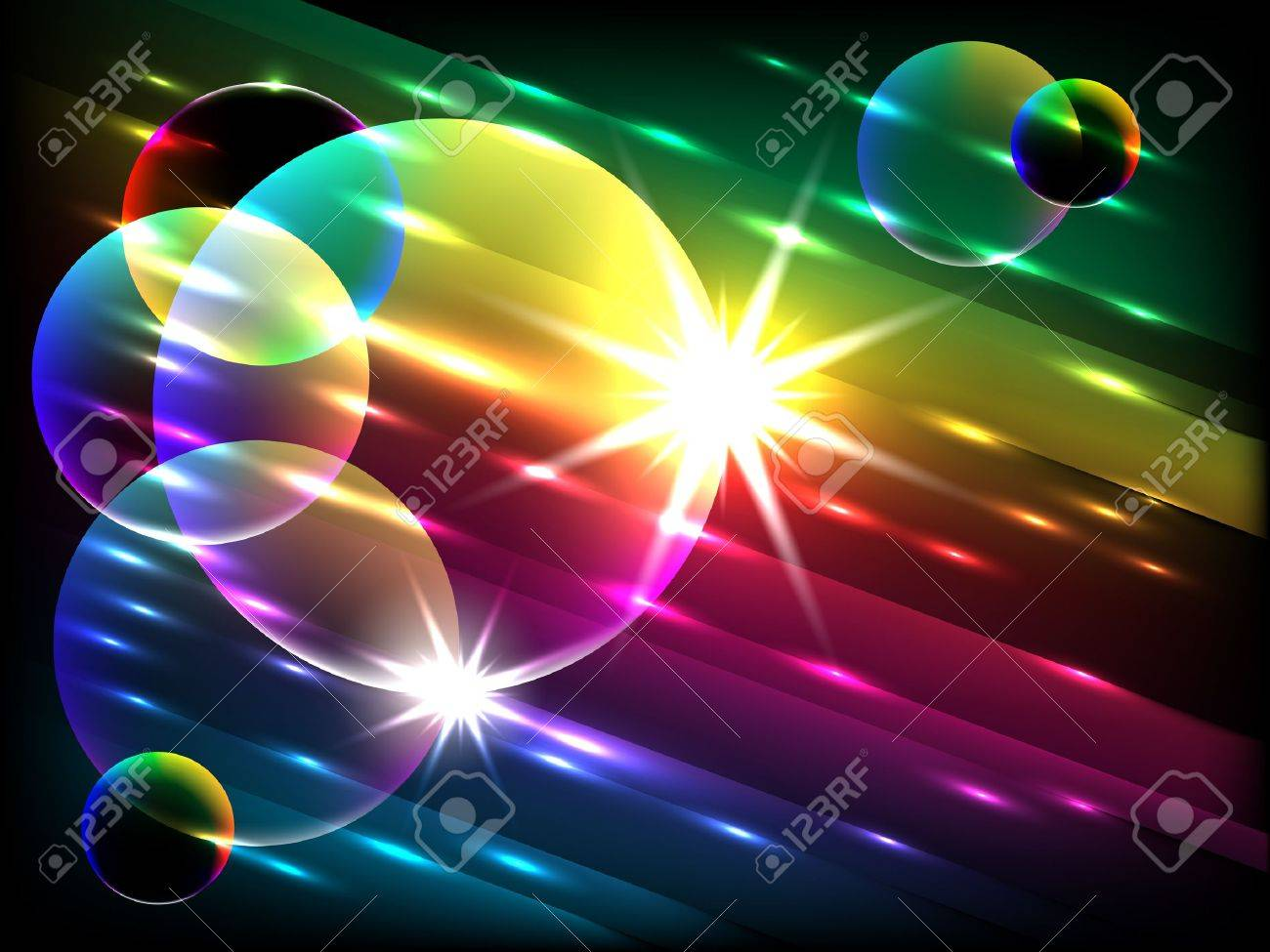 vector glowing colorful bubbles, EPS 10 with mesh gradient - 10301444