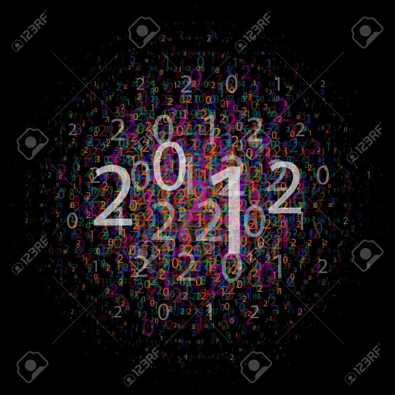 composition of numbers 2012, vector EPS10 with transparency - 11111347