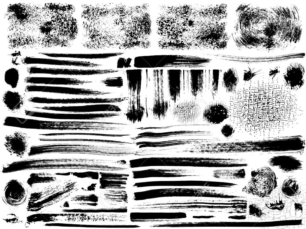 vector set of grunge strokes, dry brush effect Stock Vector - 12917668