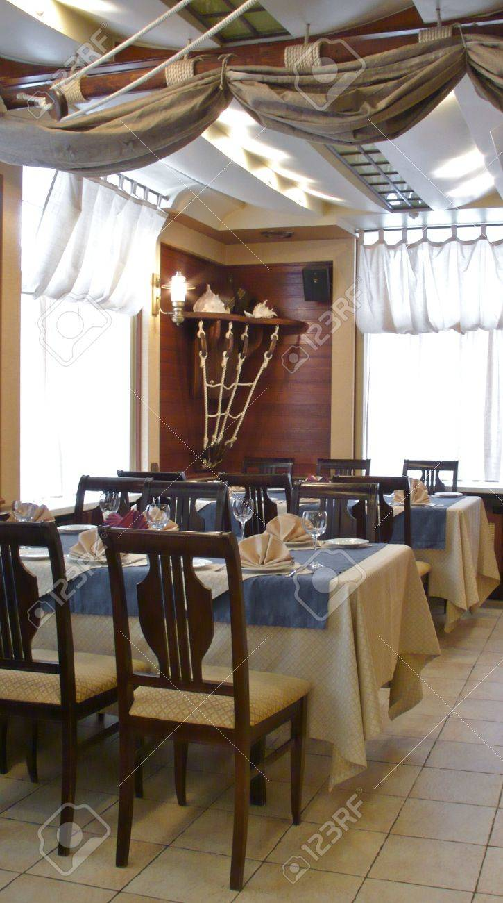 Nautical interiors - Interiors Restaurant Nautical Style Slogan Tables Ornaments From Ropes On The Walls