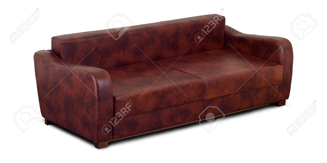 A Small Leather Sofa Isolated On A White Background. Stock ...
