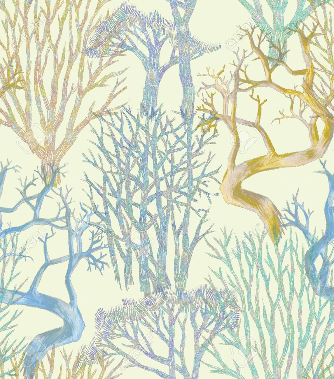Minimalist Style Seamless Pattern Hand Drawn Bare Trees Branches Stock Photo Picture And Royalty Free Image Image 141090770
