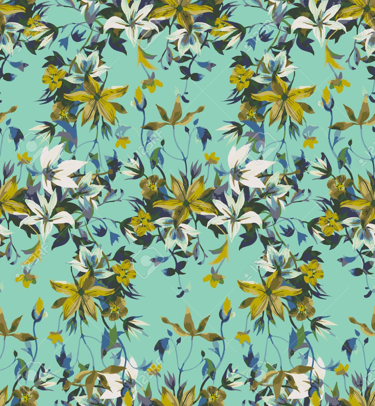 Seamless floral pattern with abstract garden flowers. Watercolor botanical illustration. Petals, buds, blooming flowers and leaves. Background for wallpaper, textile, fabric, clothes, dress or surface - 151712791