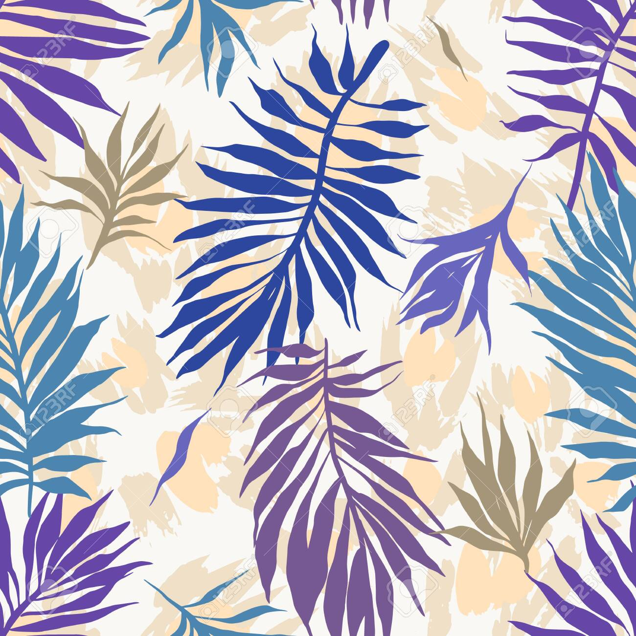 Abstract seamless tropical plants pattern. Hand drawn fantasy exotic sprigs with leopard skin background. Floral illustration made of herbal foliage leaves. Good for wallpaper, textile, fabric, fashion. - 154661419