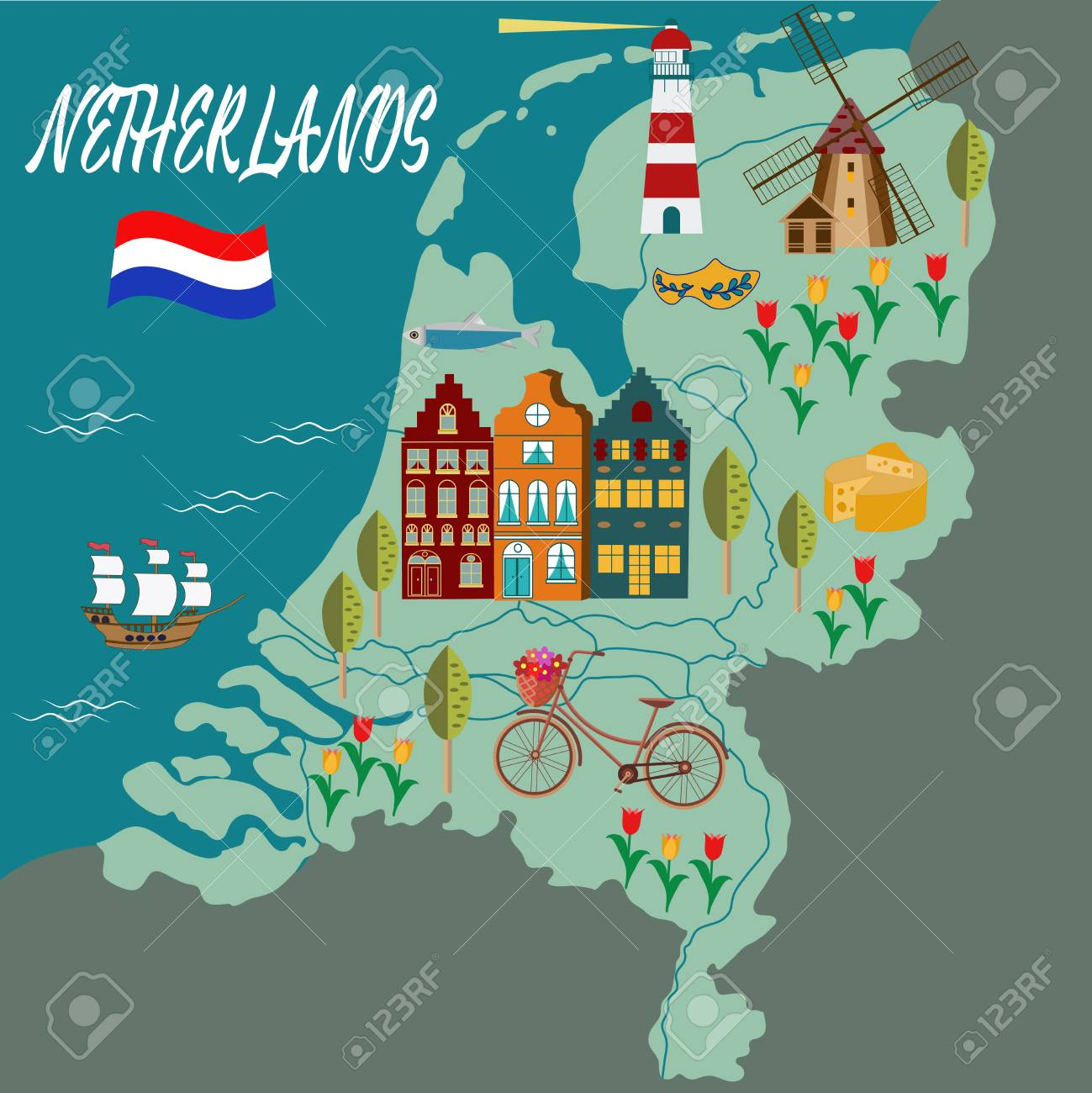 Cartoon map of holland all symbols of the countrylustration cartoon map of holland all symbols of the countrylustration for travel guide gumiabroncs Choice Image