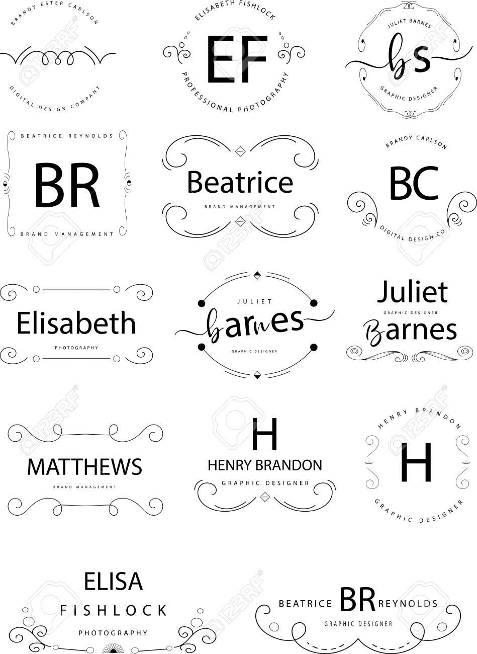 Retro Vintage Insignias or Logotypes set. Vector design elements. - 94296753