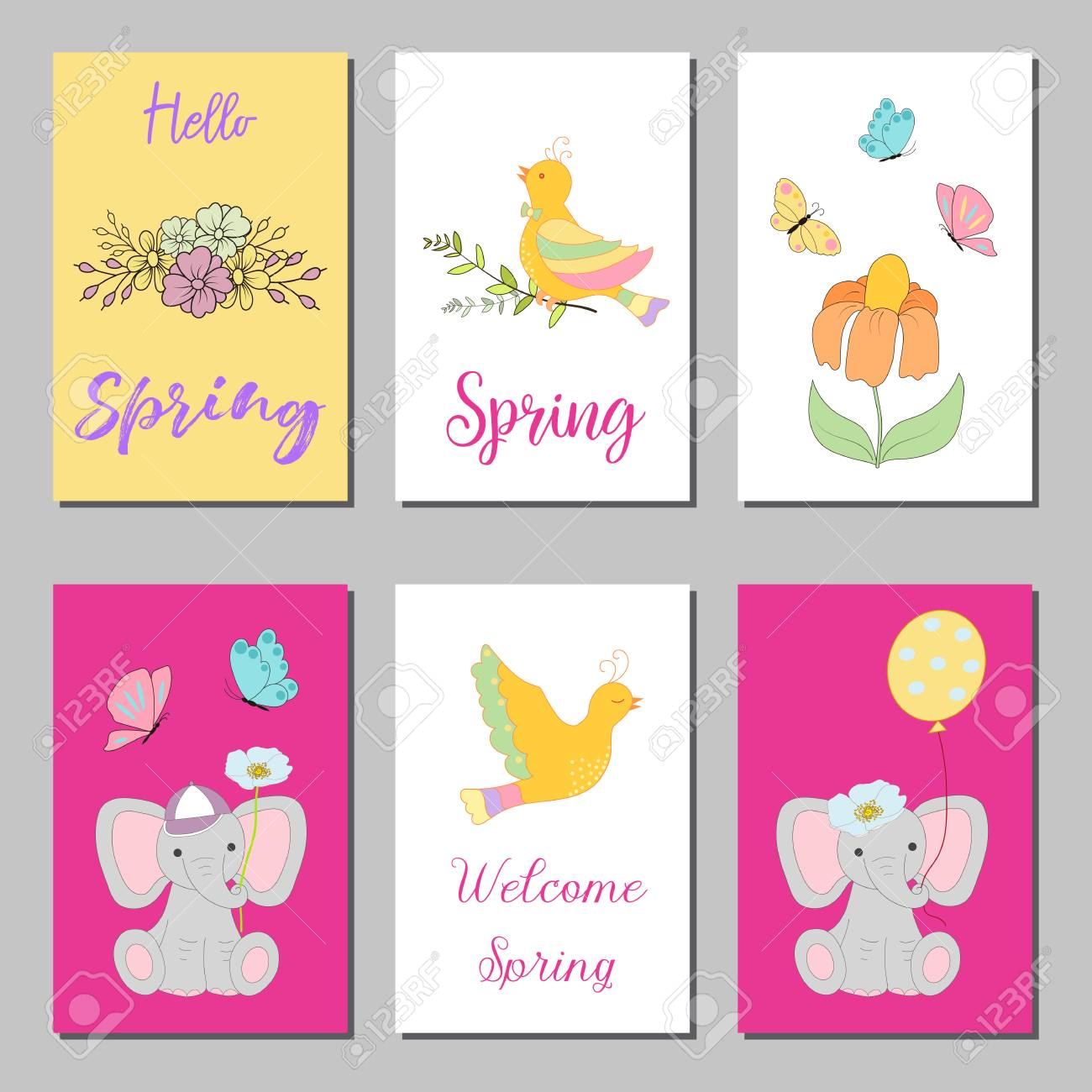 Birthday Cards Design Set With Abstract Flowers And Hand Written Text Collection Of Beautiful Greeting