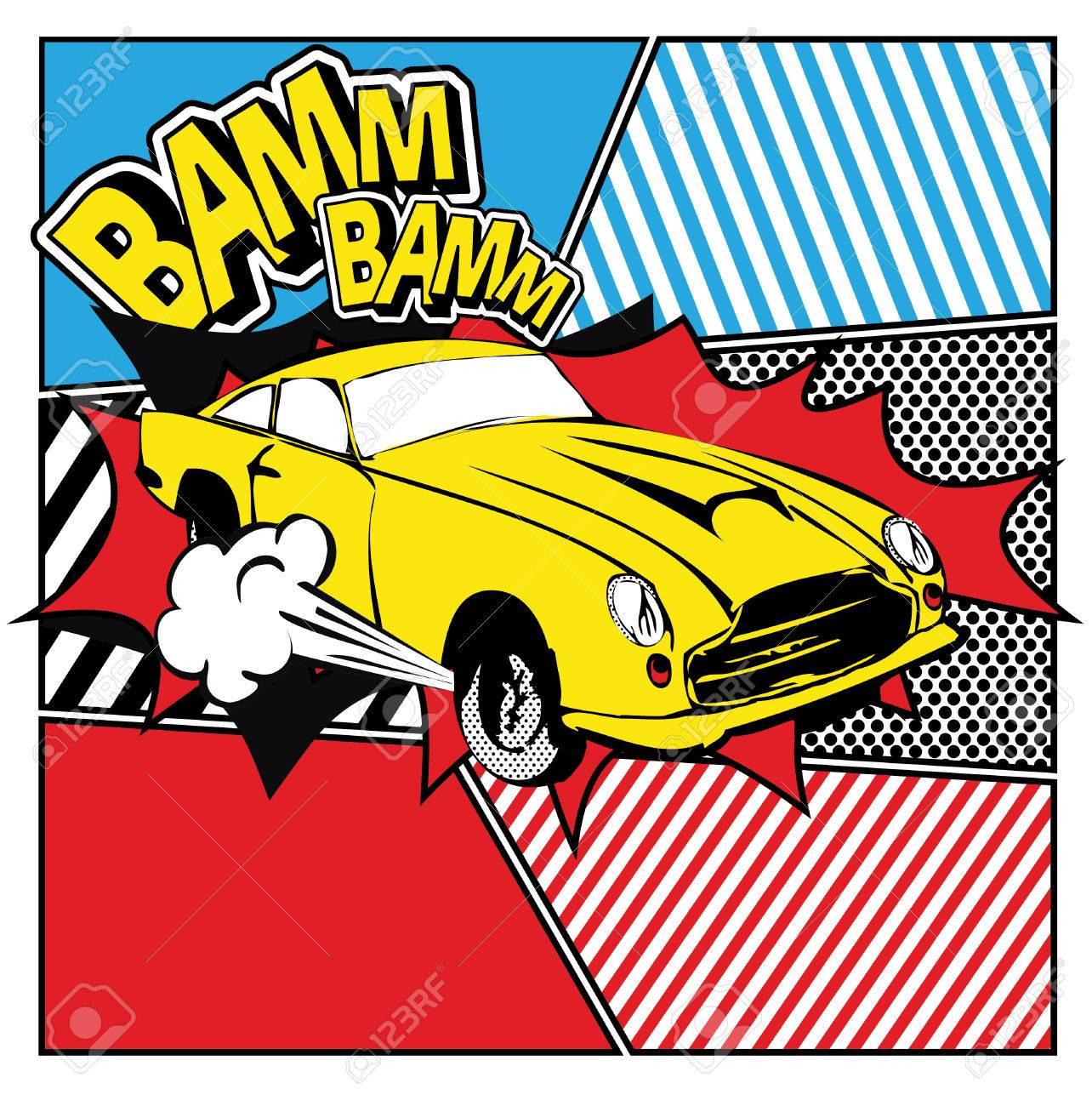 Pop art yellow car - 50939417