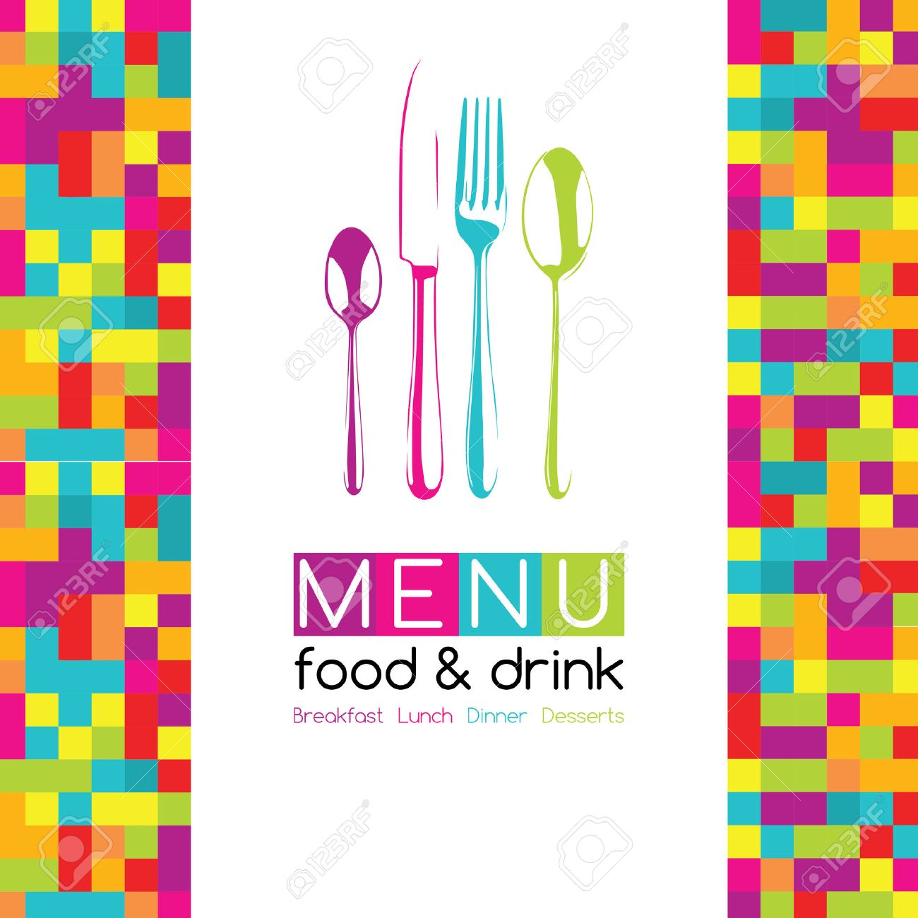Restaurant Pop Art Pixel Menu Design - Food Drink - 50984388