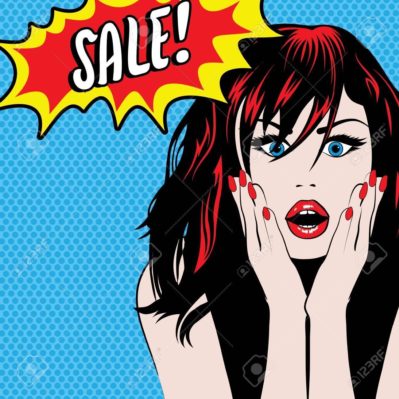 Pop art woman with sale speech bubble - 50991260