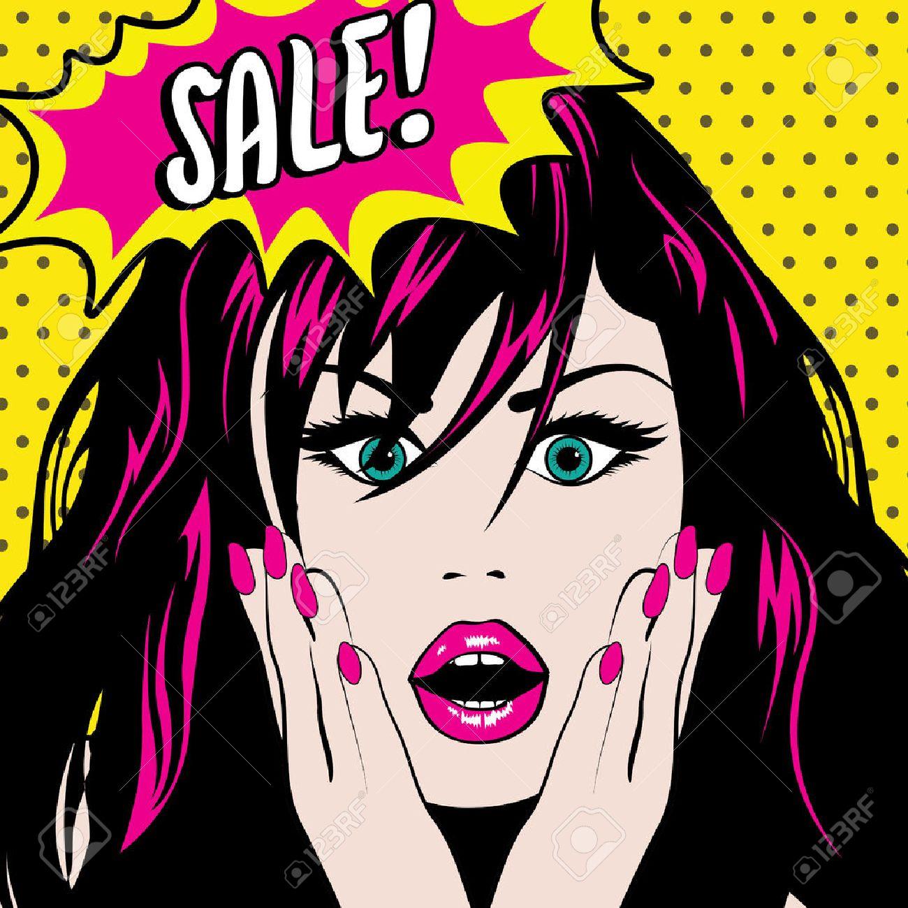 Pop art woman with sale speech bubble - 50991262