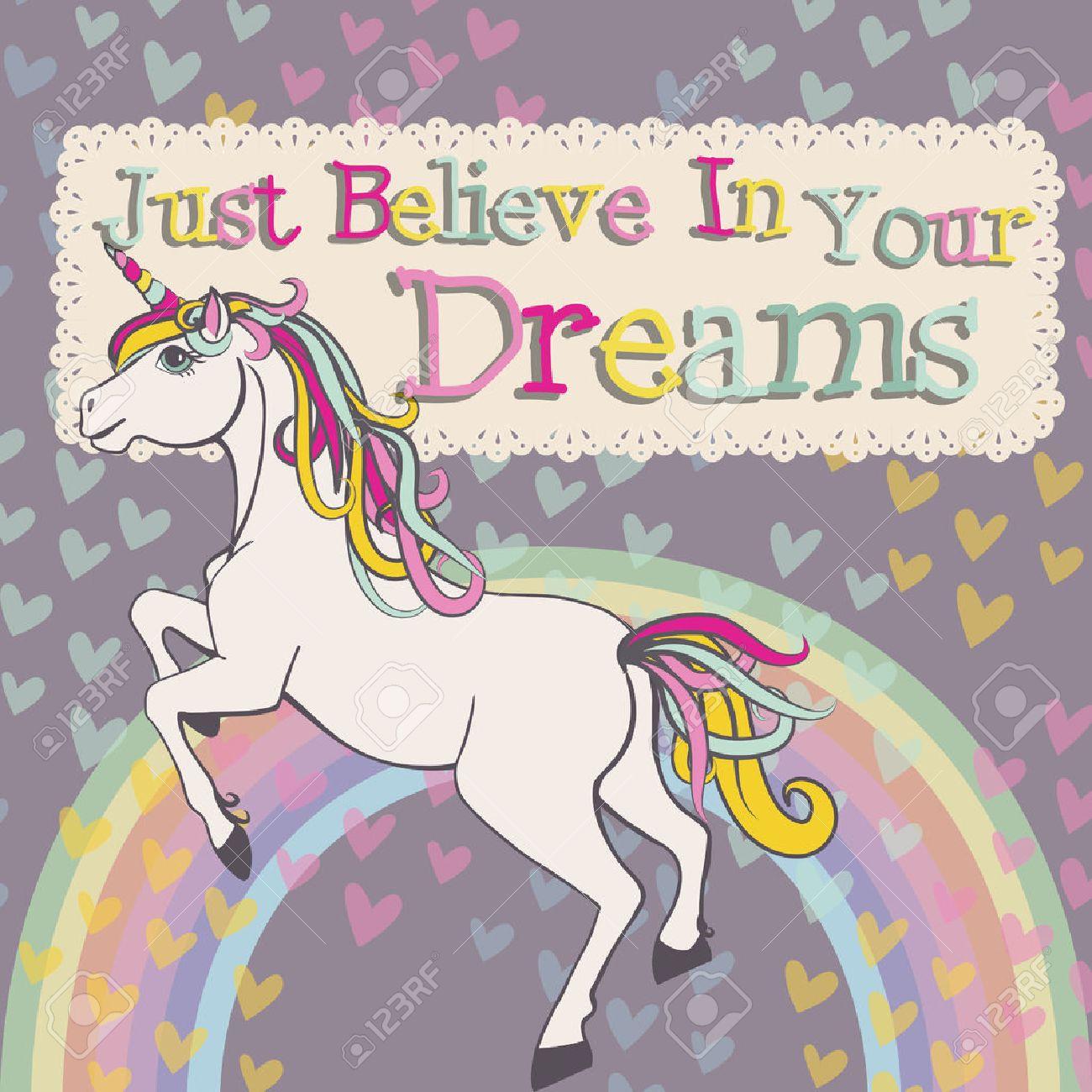 ユニコーンを信じる夢ベクトルのイラスト素材ベクタ Image 50984432