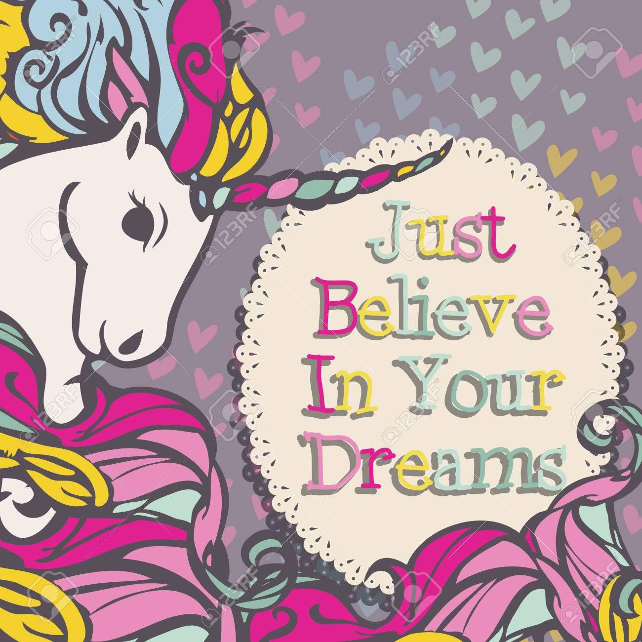 ユニコーンを信じる夢ベクトルのイラスト素材ベクタ Image 50984433