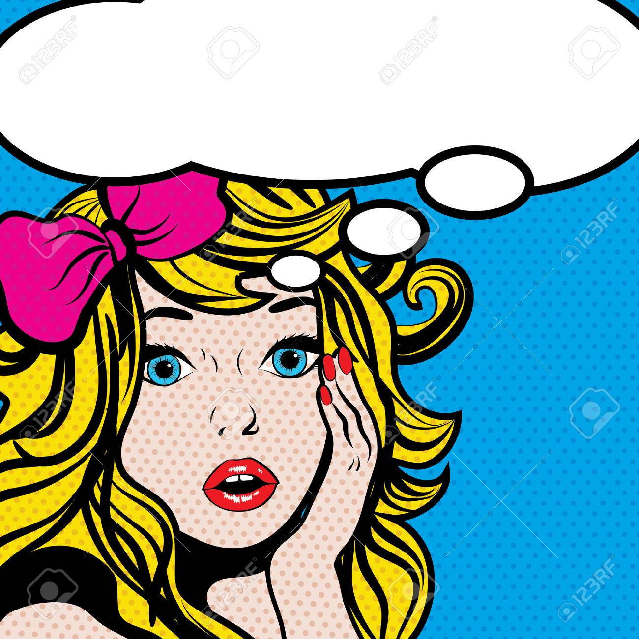 Pop art woman with blank thought bubble - 50963349