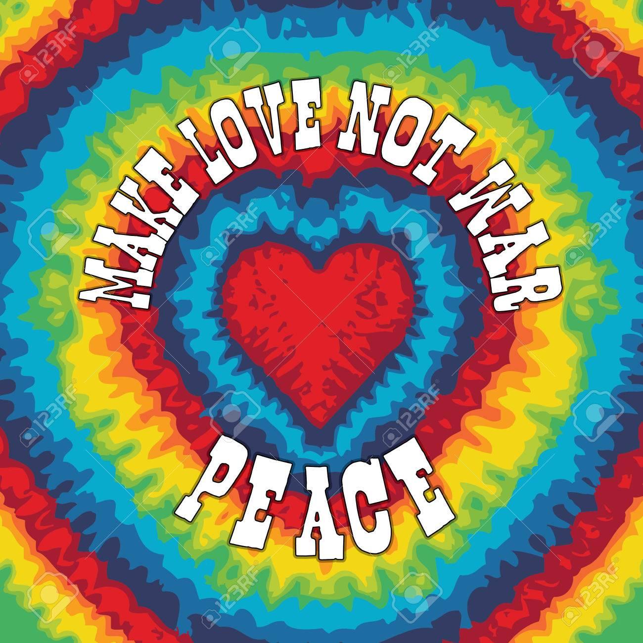 Hippie style tie dye illustration for make love not war - 51007819