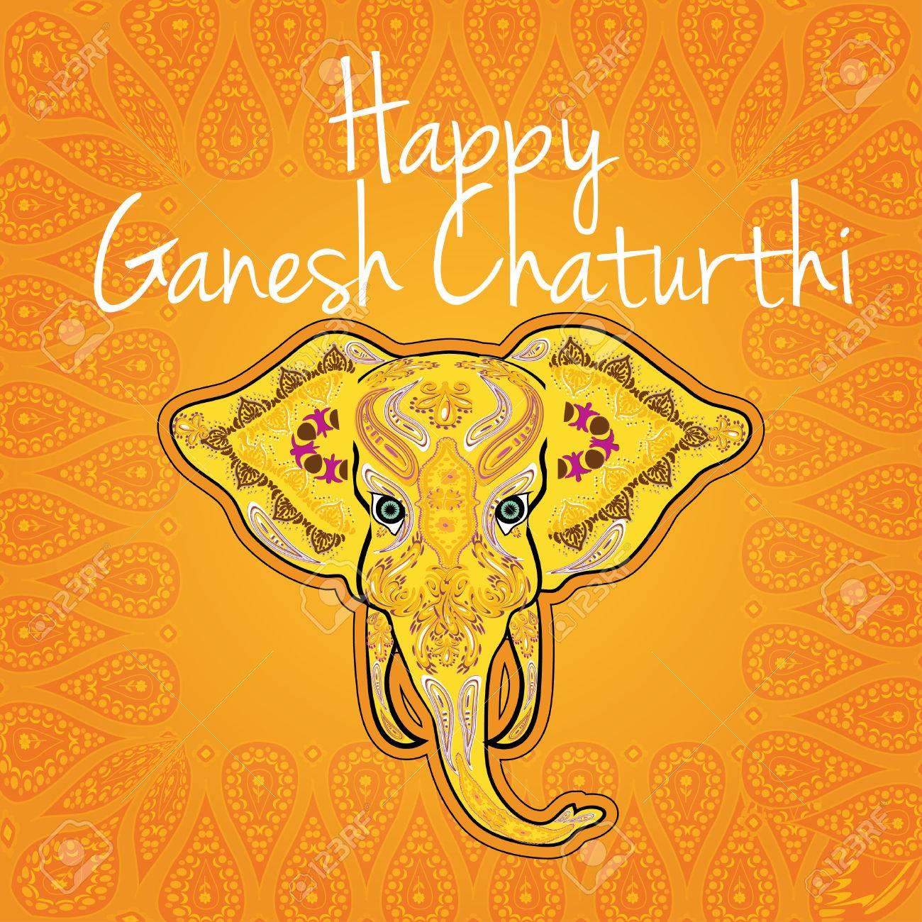 Happy Ganesh Chaturthi Festival Greeting Card Royalty Free Cliparts