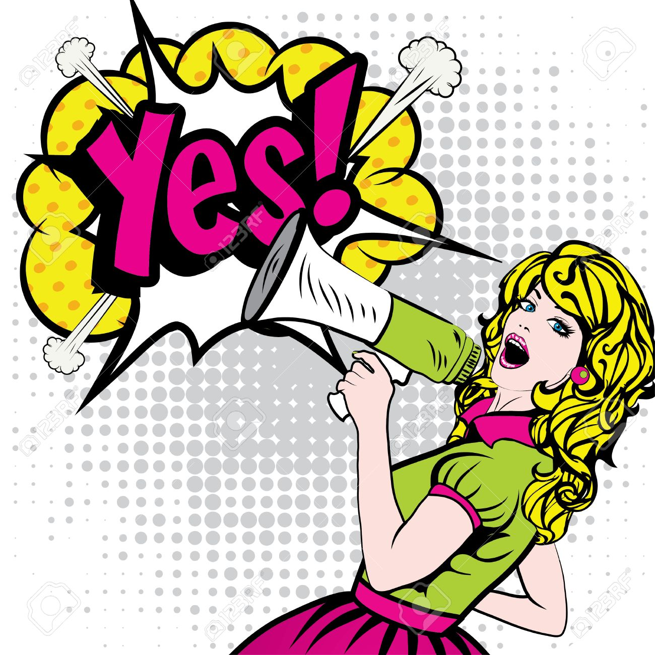 Pop Art Woman with Megaphone saying Yes! - 52038973
