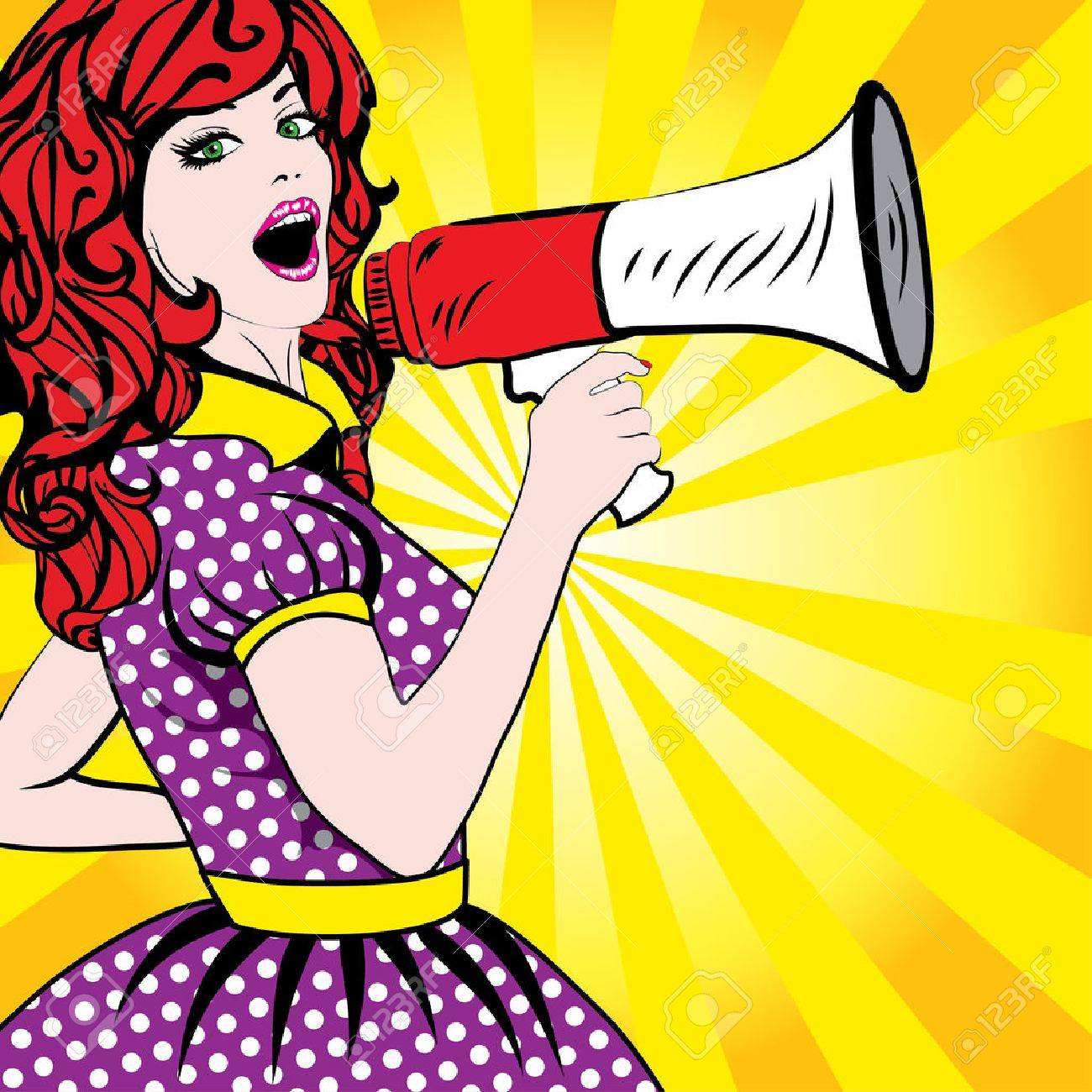 Pop art woman holding loudspeaker - 53424623