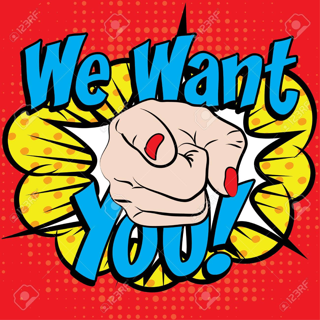 Pop art we want you typography - 53503627