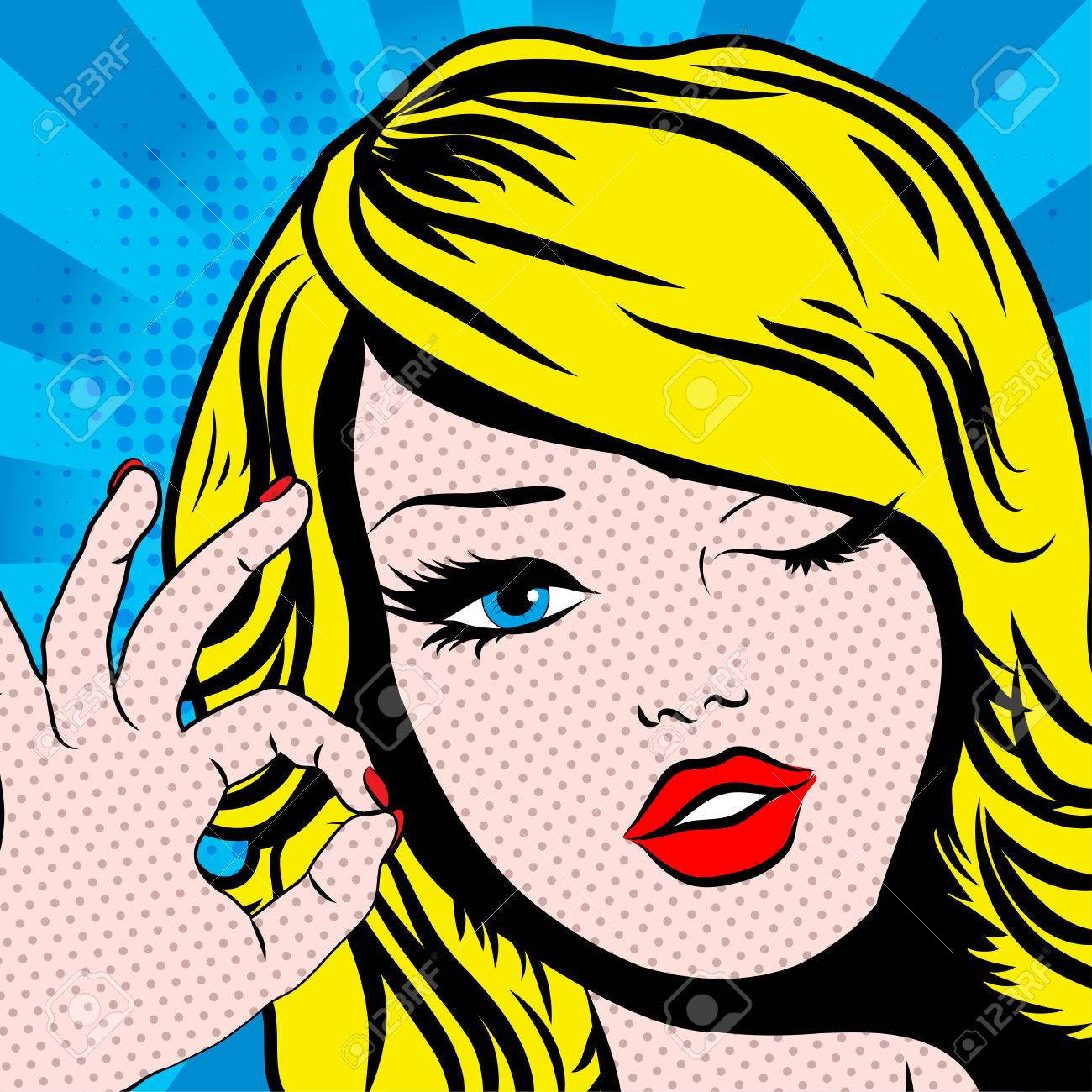 pop art woman winks royalty free cliparts vectors and stock
