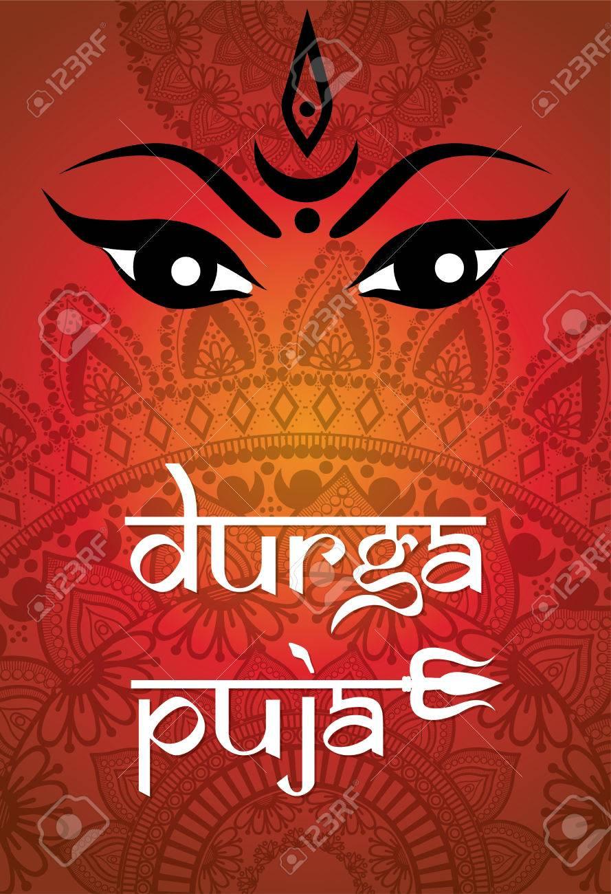Indian Happy Durga Puja Festival. Vector illustration. - 67962098