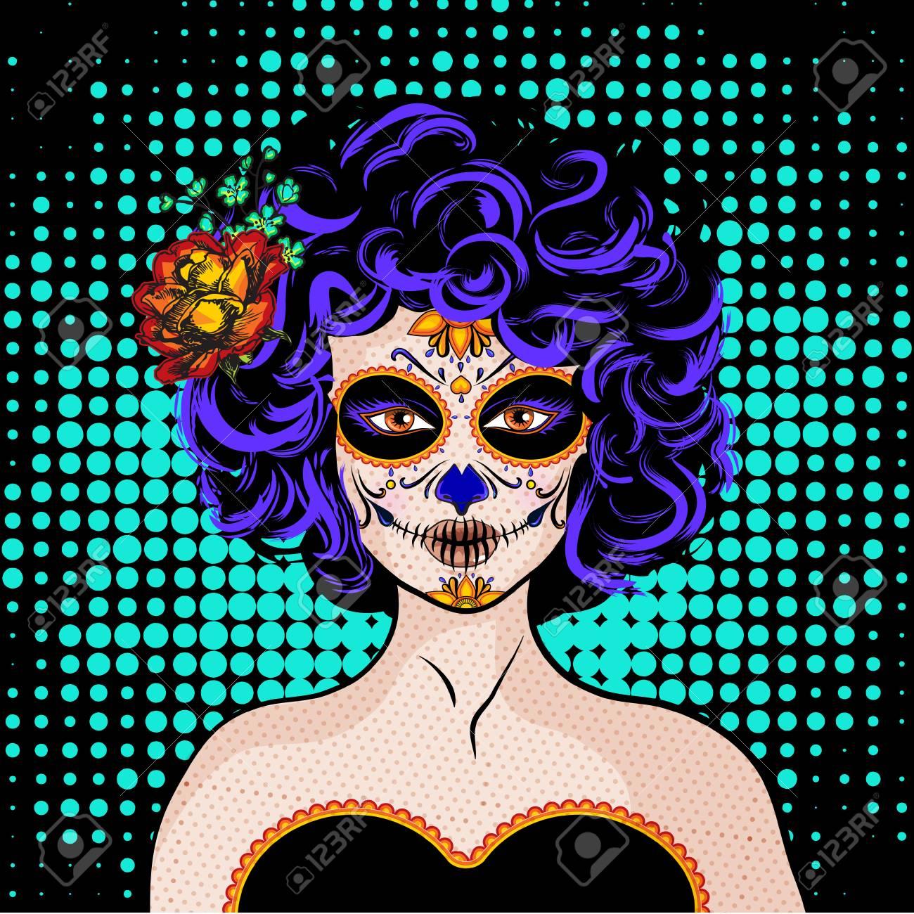 Pop art woman in halloween theme design. - 89679091