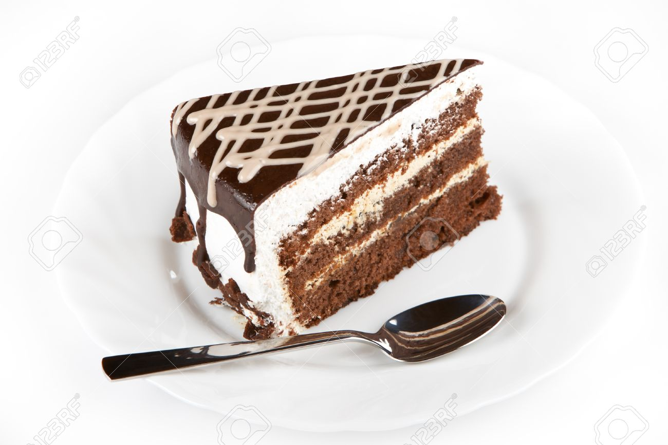A piece of cake on white plate Stock Photo - 15892877  sc 1 st  123RF.com & A Piece Of Cake On White Plate Stock Photo Picture And Royalty Free ...