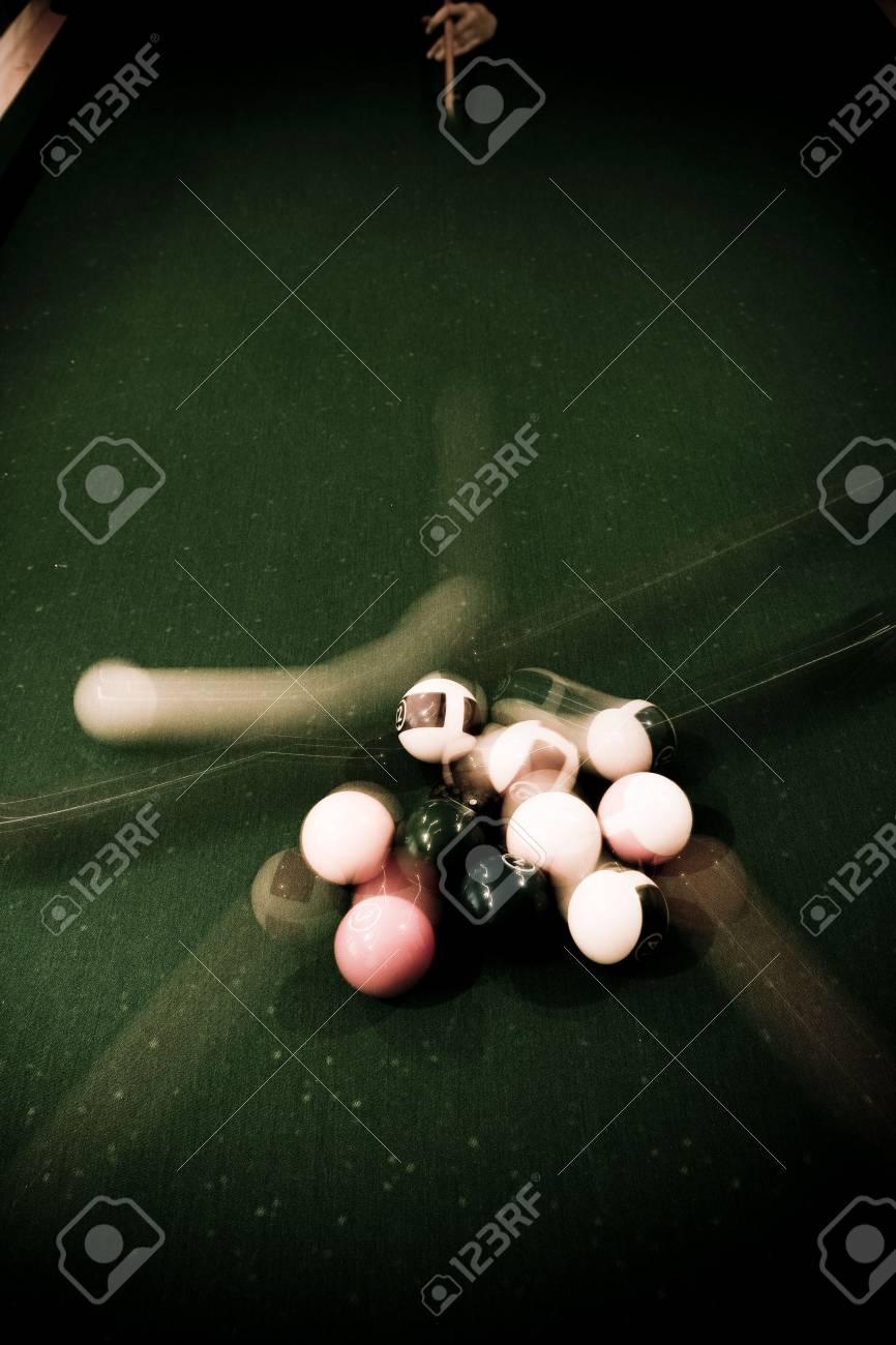 Vintage billard balls on green table Stock Photo - 4587473