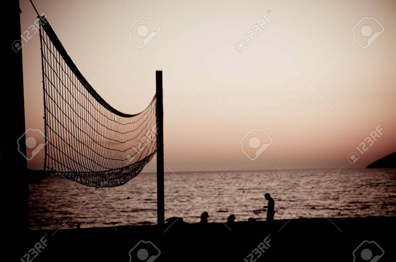 Volleyball net  on Croatian beach with sea in background Stock Photo - 9441684