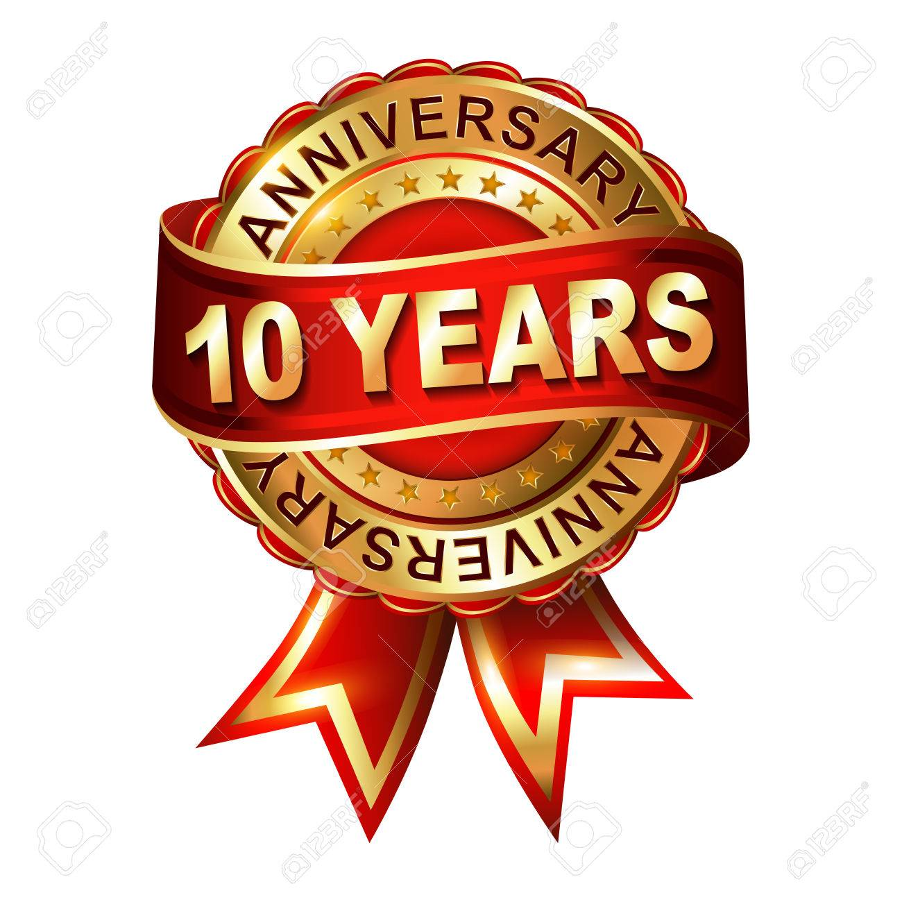 10 Years Anniversary Golden Label With Ribbon Vector Illustration