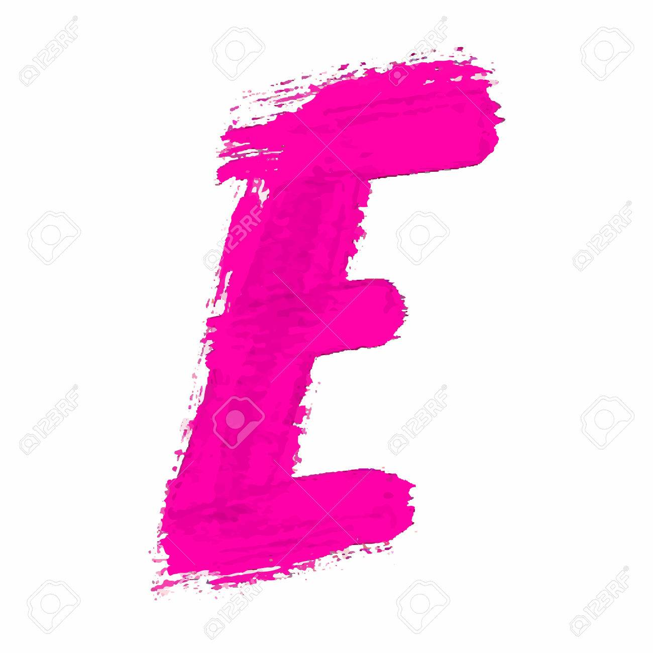 E - Pink Handwritten Letter On White Background. Acrylic Colors ...