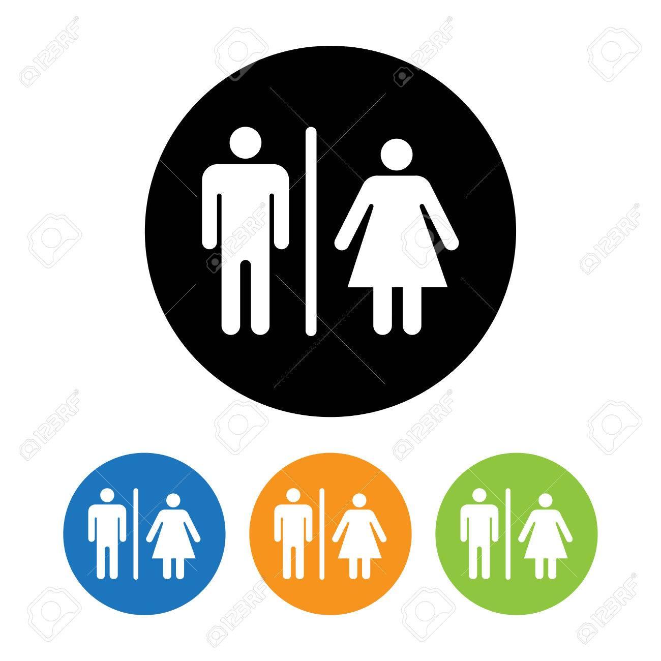 Homme Et Femme Toilettes Symbole Icône Vector Illustration Clip