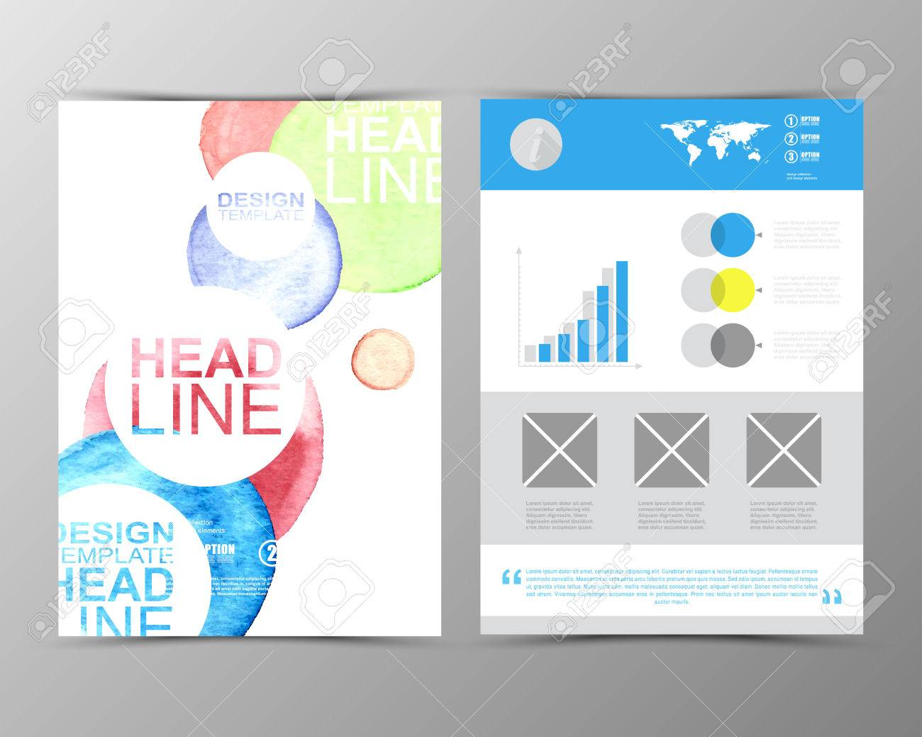 Geometric Flyer Template | Abstract Watercolor Geometric Brochure Template Map Flyer Layout