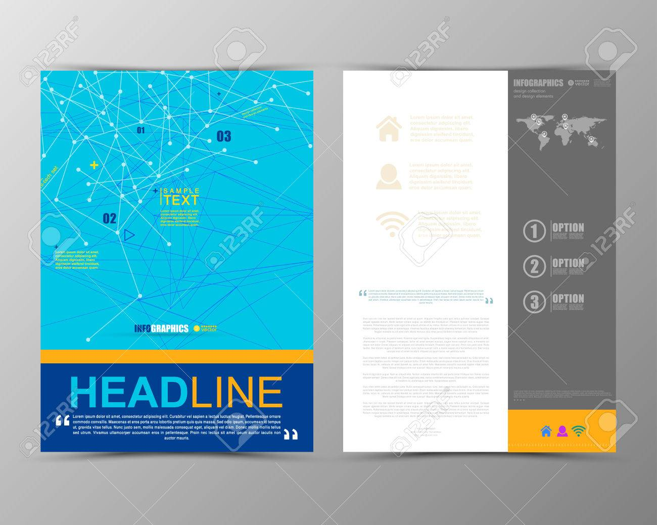 Abstract geometric brochure template  Map Flyer Layout  Flat