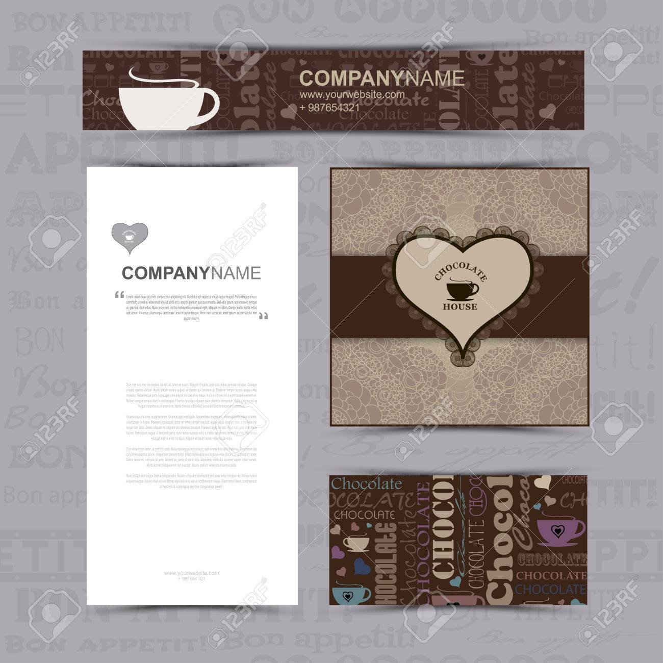 Template of identity and style for chocolate house restaurant business card banner pattern brochure template menu seamless chocolate pattern with word of chocolate with different fonts and bon colourmoves