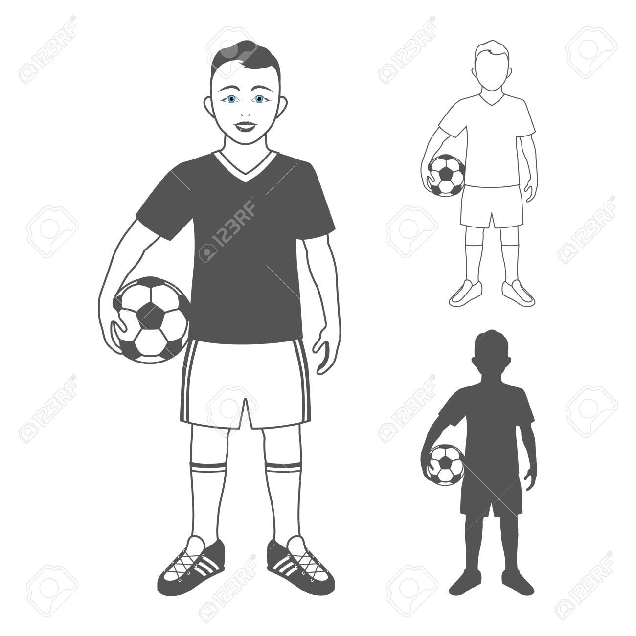 Foto de archivo - Retrato de cuerpo entero de un niño en ropa deportiva  sosteniendo un balón de fútbol. Niño de pie y sonriente f09dc8bc2b39e