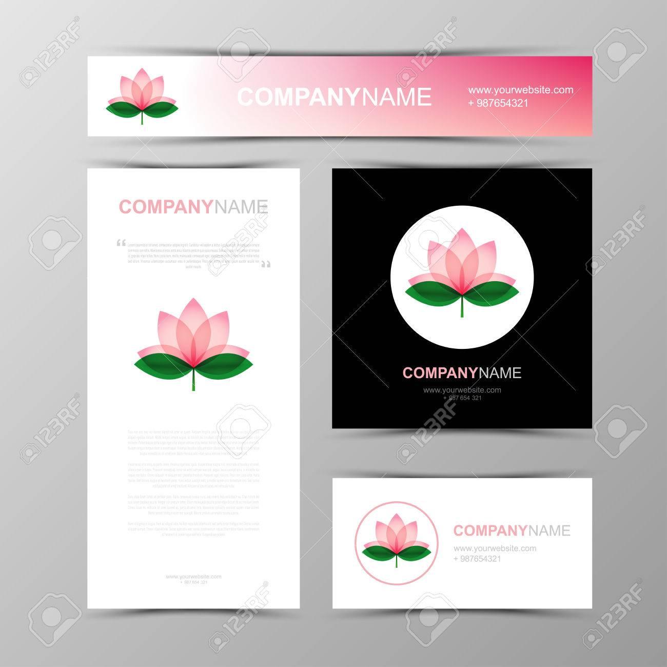 Carte De Visite Bannieres Et Brochure Modele Lotus Icones Fleurs Logos Les Lignes Contour Design Plat