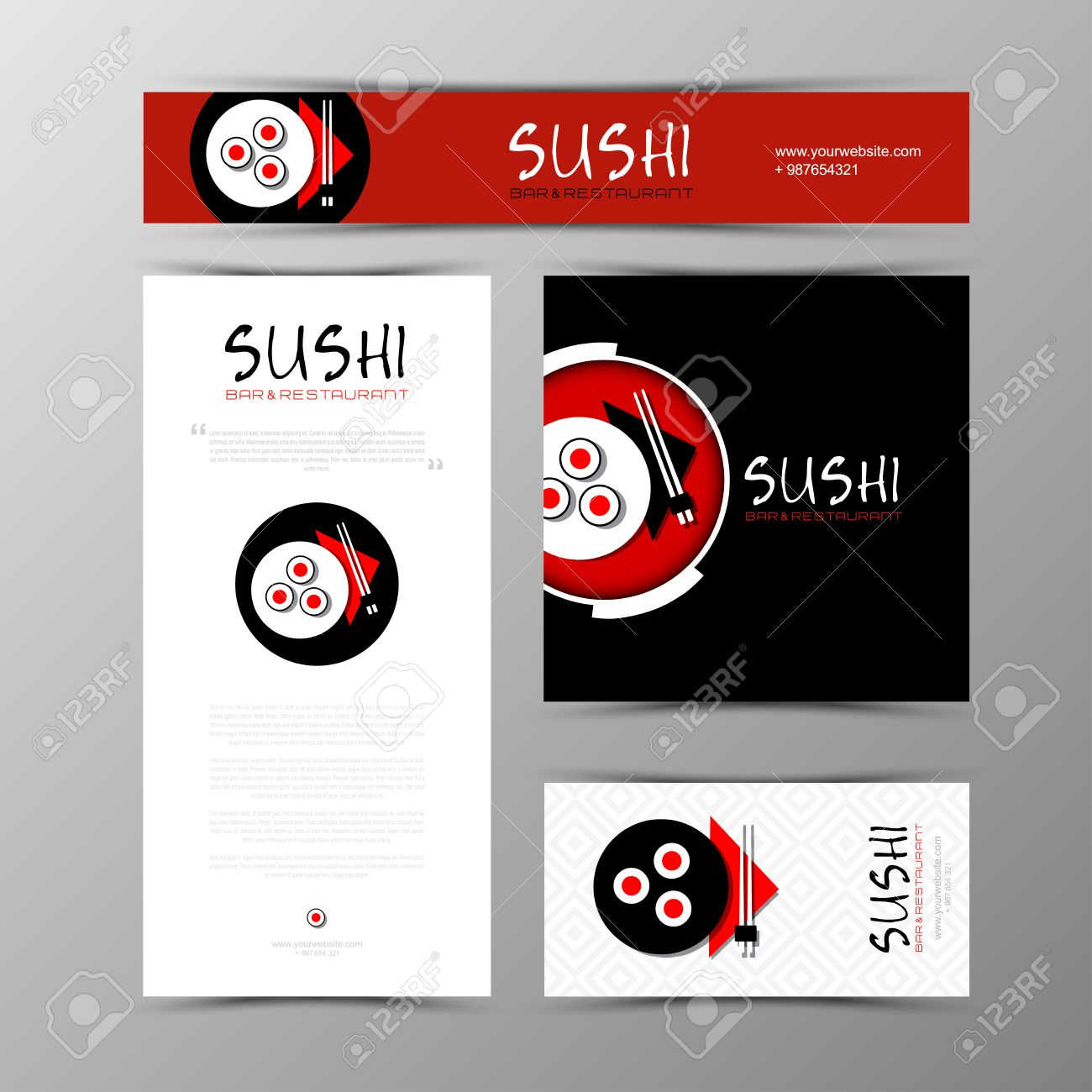 100 sushi menu template japanese cuisine restaurant sushi sushi menu template template of identity for sushi restaurant and bar business card pronofoot35fo Choice Image