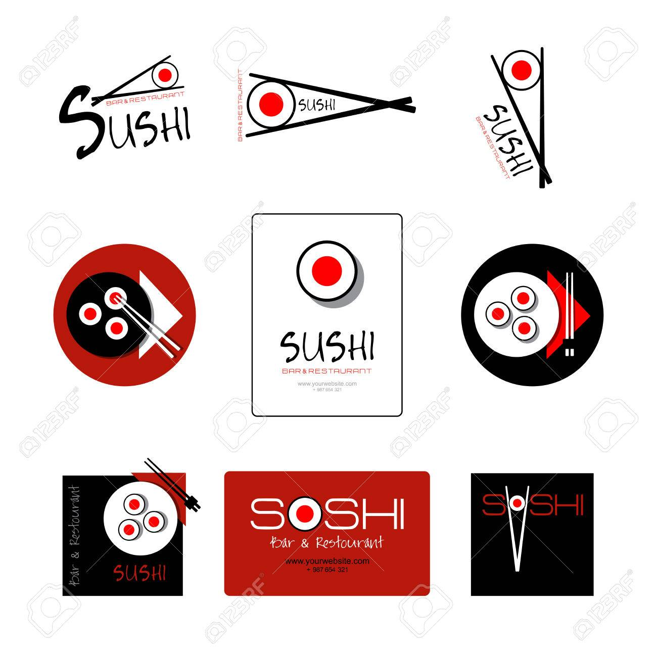 Template Of Identity For Sushi Restaurant And Bar Logo Or Icon