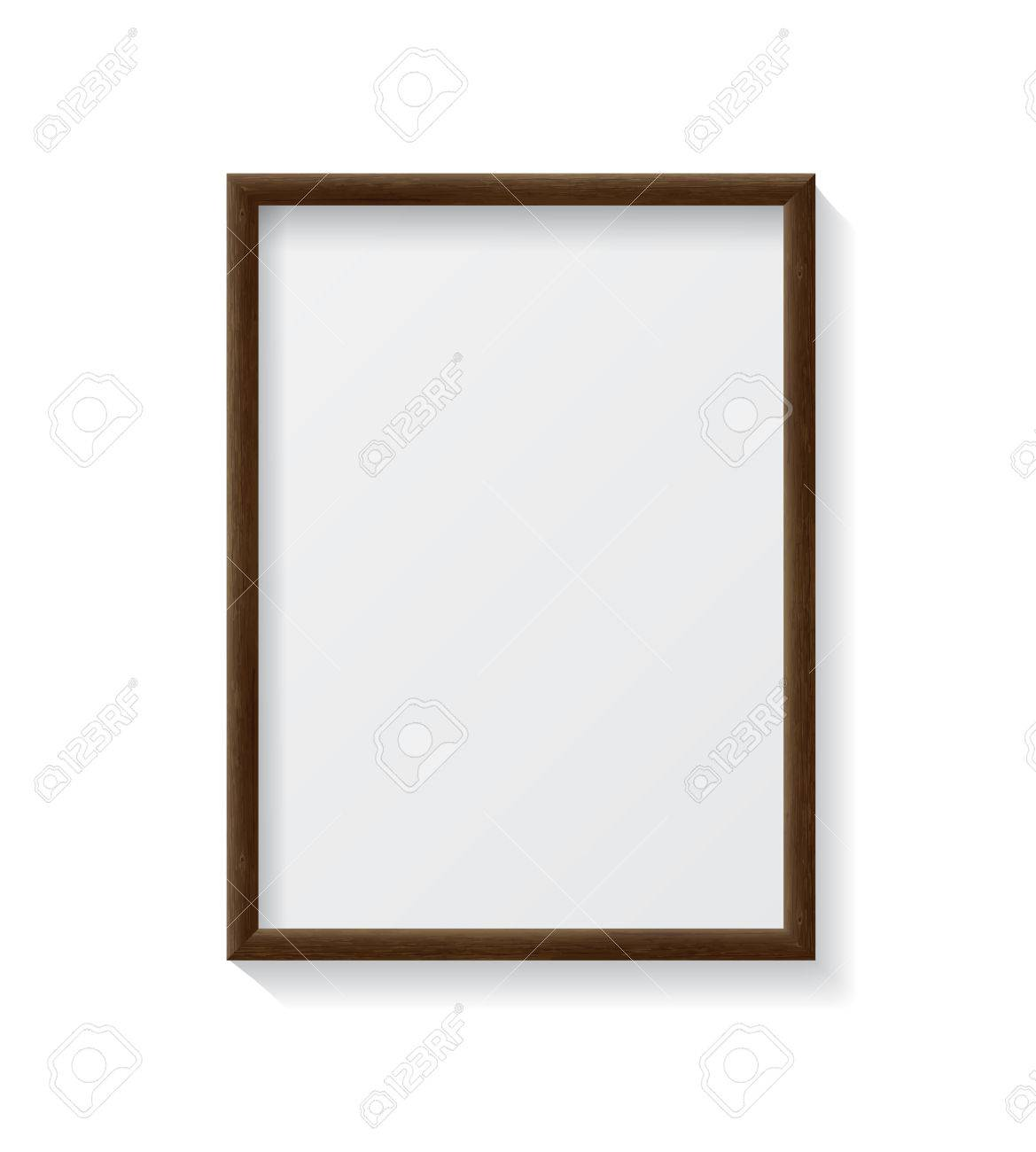 Realistic Dark Wood Blank Picture Frame, Hanging On A White Wall ...