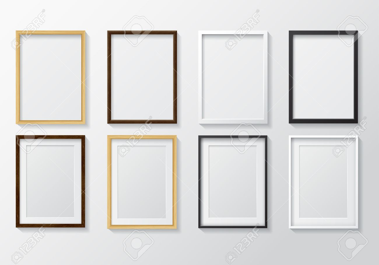 set of realistic light wood blank picture frames and dark wood set of realistic light wood - Wooden Picture Frames