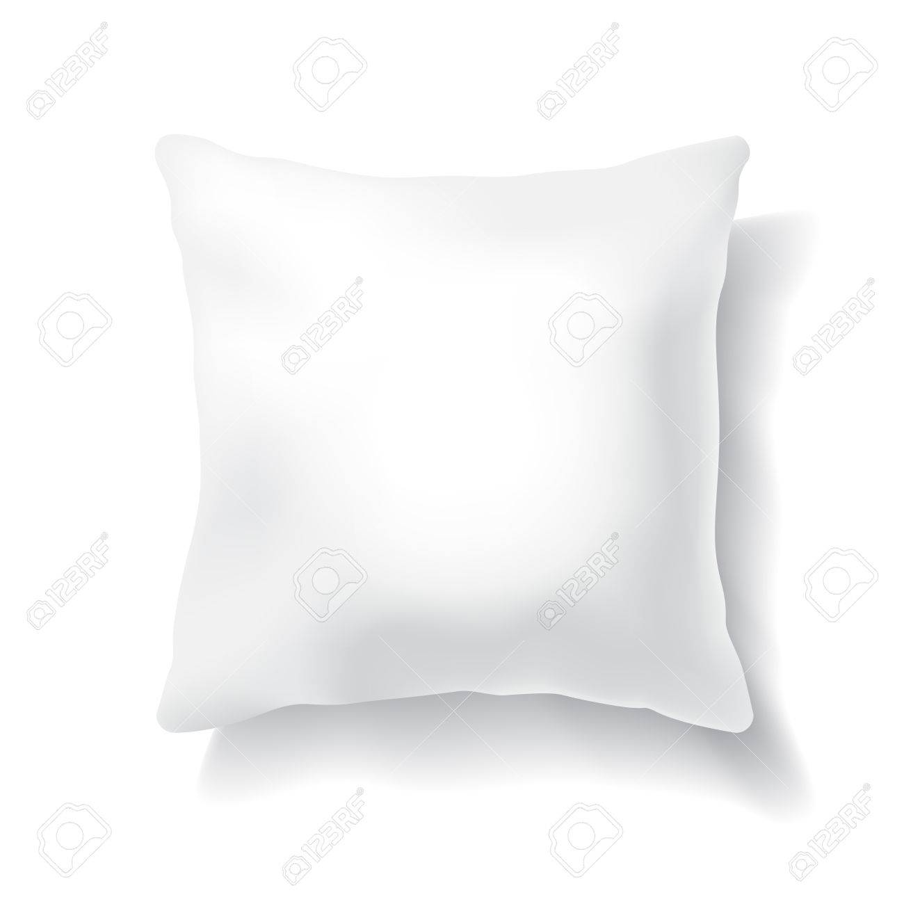 blank white square pillow isolated on white background design