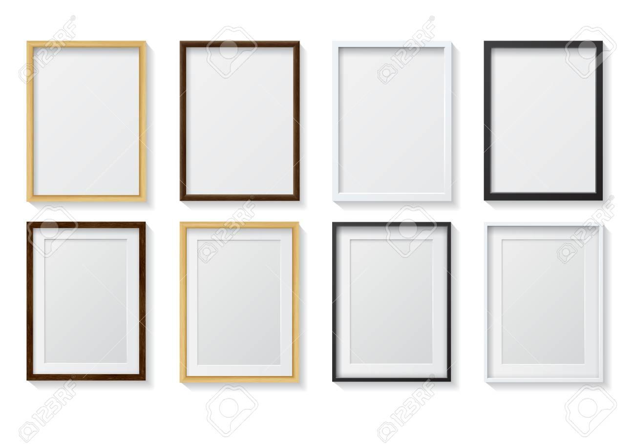 Set Realistische Licht Holz Blank Bilderrahmen Und Dark Wood Blank ...
