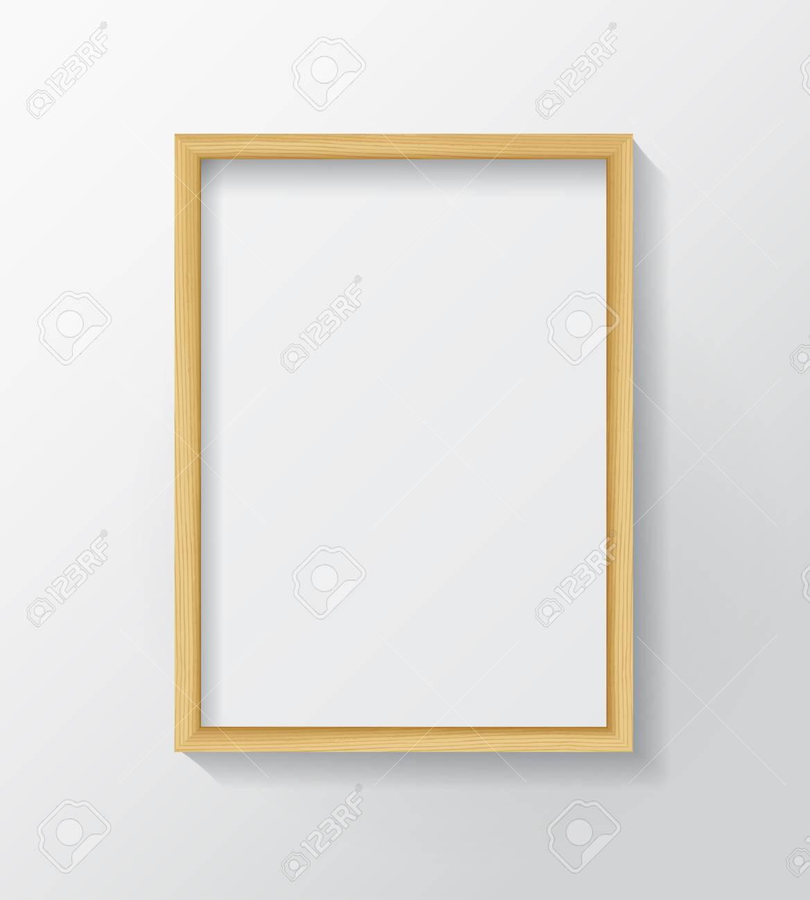 Realistisches Licht Holz Blank Bilderrahmen, Hängen An Einer Weißen ...